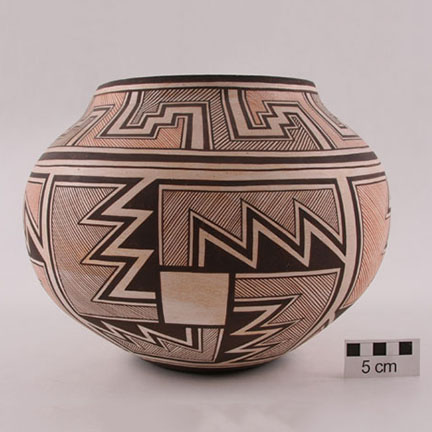 A polychrome olla by mother and son potters Josephine and Randy Nahohai of Zuni Pueblo, ca. 1986.