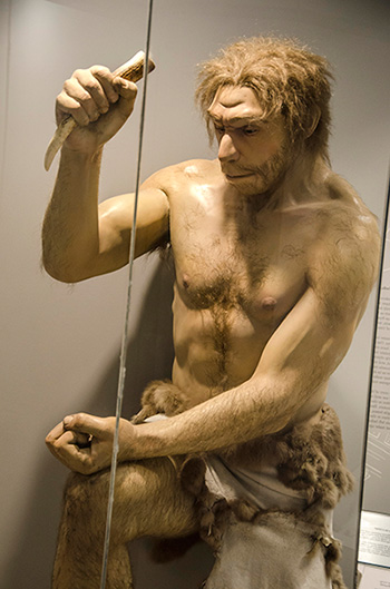 Neanderthal using tools