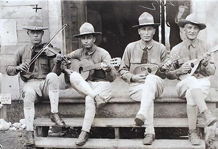 Servando Gonzales and fellow musicians, ca. 1919.