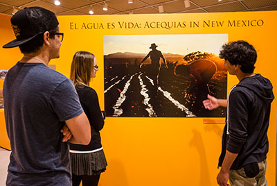 Visitors viewing exhibit