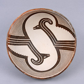 Mimbres bowl with ram design