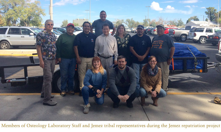 Members of Osteology Laboratory Staff and Jemez tribal representatives during the Jemez repatriation project