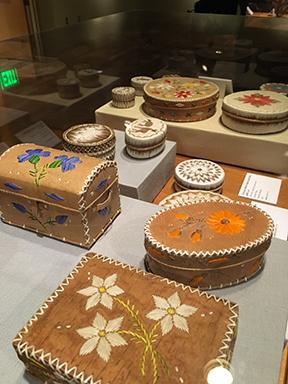 Anishinaabe baskets at the Ziibiwing Center of Anishinaabe Culture and Lifeways exhibition