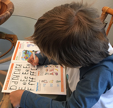 """Homeschooling ""Rocco  practicing writing"
