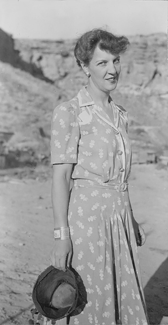 1)	Florence Hawley Senter at Chaco Canyon, 1941. Photo courtesy of Armand Winfield. MMA